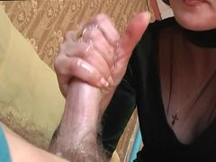 Young man + horny russian mature. 2 cumshots.