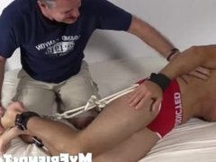 Sexy Chase Lachance is tied and stripped and tickled in bed