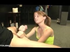 Mega-sized load for the redhead teen