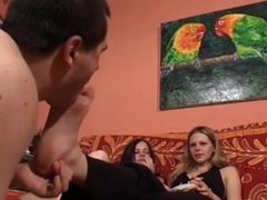 Foot Slave Licks the Feet of 2 Sisters