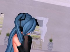 MMD Blue Hair Cutie with Sex Toys in Pussy and Ass GV00103