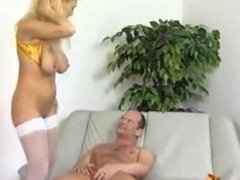 Big titted German blonde in white stockings fucked well