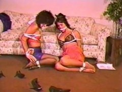 two girls in stocking-feet tied up
