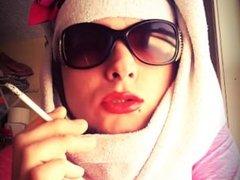 Ladyboi Liz Smoking A Capri With Glossy Lipstick Hot