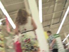 Upskirt in supermarket! Amateur!