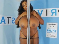 Big tits ebony babe Maserati XXX pole dance 2