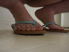 Self foot cum, with girl sandals