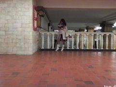 Subway pantyhose pussy flashing