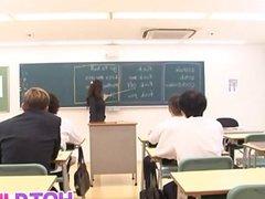 Ruri Saijo rubs cunt with fruit in classroom