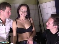 Brunette fucks with two for cash