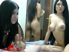Three Latina Babes One Handjob