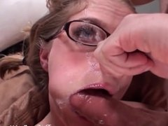 Teen in glasses gets face fucked