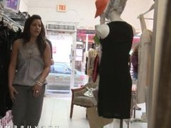 Women watch men jerk off in clothes shop