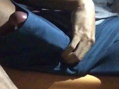 super hung latino jerks off in shorts - peekaboo
