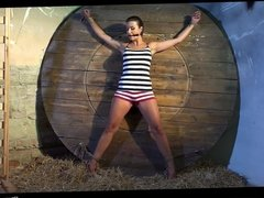 Katie Oliver bound spread-eagle tight gag stripped vibed