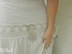 Amateur Pisses in a Long White skirt