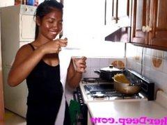 Heather Deep Scared in Kitchen gives deepthroat creamthroat throatpie