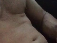 Super Hung Muscle Jock Jerking off in Car and shooting cum on chest