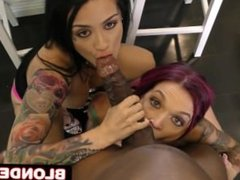 Interracial BBC 3Some with Hot Punk Chicks