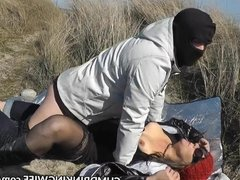 Dogging slutwife gangbanged on public beach
