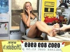 Office Babe FEET 2 - Alex tickled by man