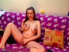 Pregnant amateur gets naked on webcam