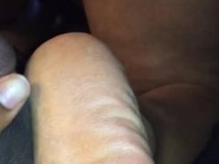 Rough cracked feet footjob while she's on the phone!!!