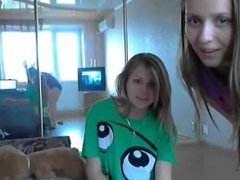 Two very young college teens first time on webcam showing all