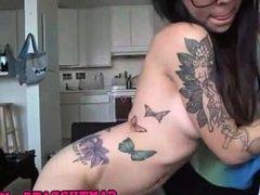 Alt girl strips and masturbates on webcam