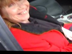 Granny anal dogging in a car