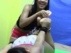 Latina girl paola tied up and tickle