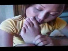 asian girl foot smelling fun