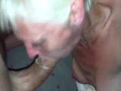 Short haired blond milf facial
