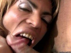 Black t-girls deepthroat black shecocks in foursome orgy