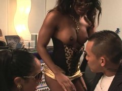 Lucky Asian dude gets to fuck to gorgeous black chicks