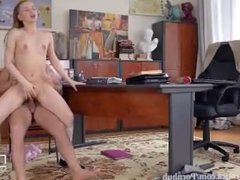 College Teen Gets first time anal from naughty professor