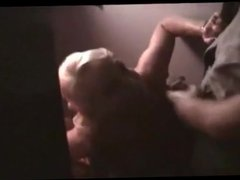 Amateur platinum blonde blows in the gloryhole
