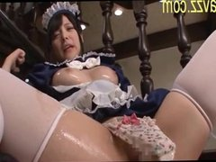 Oiled cutie maid craving toys muff