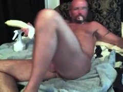 Hunk daddy with his toy