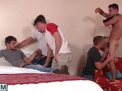 Five hot gay guys have fun fucking and sucking each other