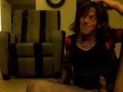Crossdresser cums on heels...licks them clean