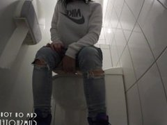 Young College Brunette Playing Around In The Toilet