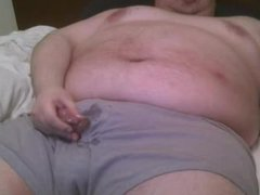fat man cums and makes a mess