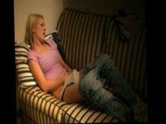 teen masturbates on couch