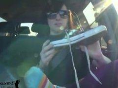 Hot Teen Dakota Charms Gross, Smelly, Stinky, Feet and Socks Reek Up Car