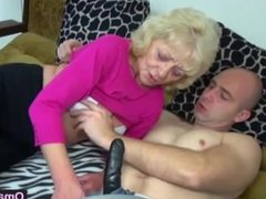 Granny goes down on man with a dildo