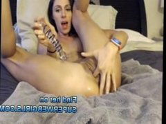 Hot girl solo masturbation anal sex deep anal insertion big dildo webcam