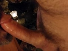 Cum on my mouth and beard from my favorite buddy