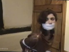 British girl wrap gagged and bound