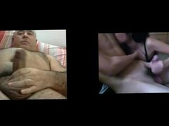 Man masturbates watching handjob